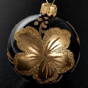 Ornement sapin, boule noire fleur 6 cm s2