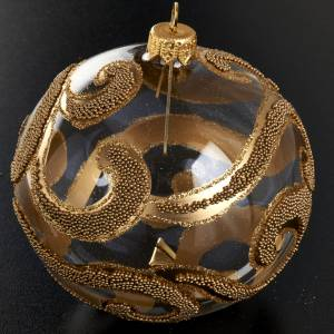 Ornement sapin, boule or glitter 10 cm s2