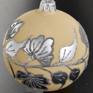 Ornement sapin, boule verre ivoire glitter 8 cm s2