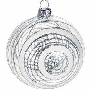 Ornement sapin spirales argentées 8 cm s1