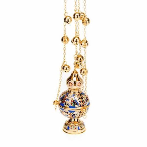 Orthodox style glazed golden thurible s5