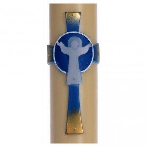 Kerzen: Osterkerze auferstandenen Christus mit Kreuz hellblau 8x120 Bienenwachs