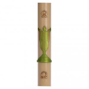 Kerzen: Osterkerze mit EINLAGE auferstanden Christus grün 8x120cm Bienenwachs