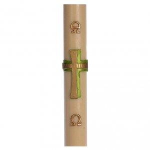 Kerzen: Osterkerze mit EINLAGE grünen Kreuz 8x120cm Bienenwachs