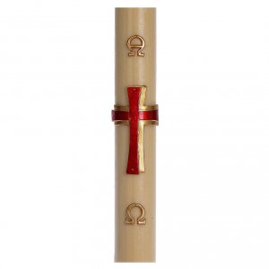 Kerzen: Osterkerze mit EINLAGE roten Kreuz 8x120cm Bienenwachs