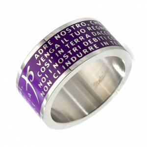 Prayer rings: Our Father prayer ring purple - stainless steel LUX