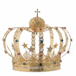 Crowns and halos for religious statues: Our Lady crown golden brass - colored strass stars