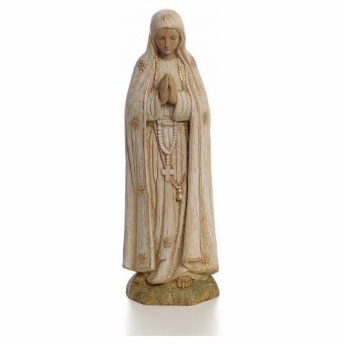 Our Lady of Fatima statue in painted wood 15 cm, Bethleem s1
