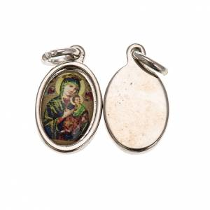 Our Lady of Perpetual Help in silver metal and resin 1.5x1cm s1
