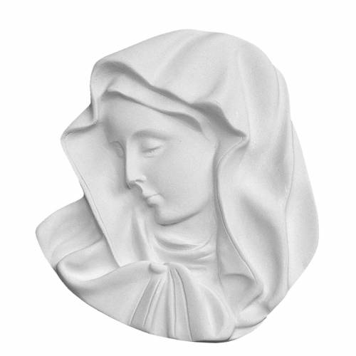 Our Lady of the finger, round bas-relief in reconstituted marble s1