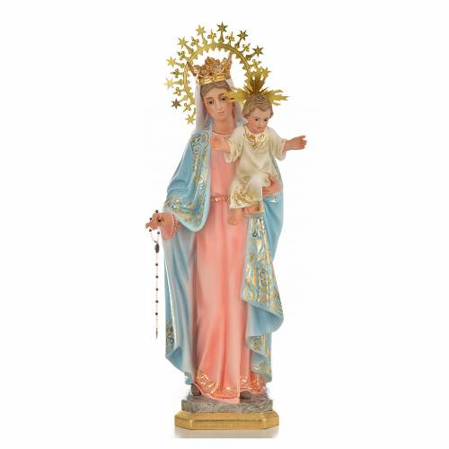 Our Lady of the Rosary 50cm in wood paste, superior decoration s1