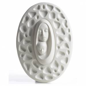 Our Lady with baby Jesus bas-relief in porcelain by F. Pinton 20 cm s1