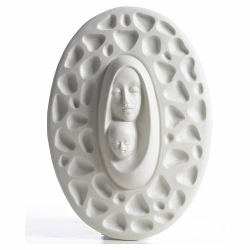 Our Lady with baby Jesus bas-relief in porcelain by F. Pinton 20 cm 1