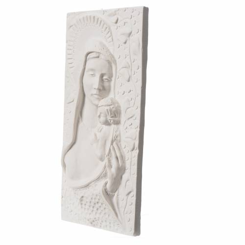 Our Lady with child, 30 cm bas-relief in reconstituted marble s2