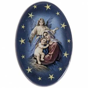 Oval magnet Jesus's birth terracotta s1
