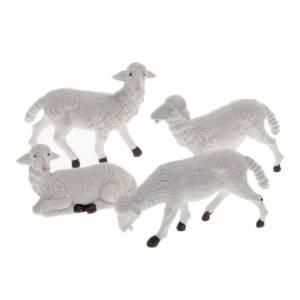 Animales para el pesebre: Ovejas belén plástico blanco 4 pz. 16 cm.