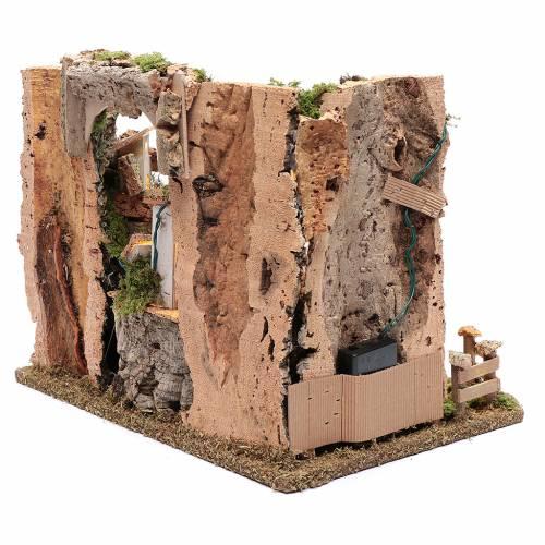 Paesaggio roccioso con borgo e luci 30x40x30 cm s4