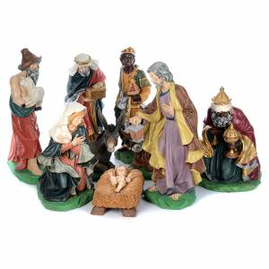 Resin and Fabric nativity scene sets: Painted fiberglass nativity scene with 9 statues, 95 cm