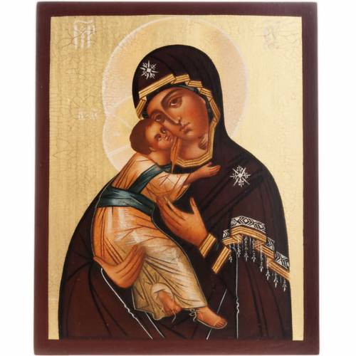 Painted icon, Our Lady of Vladimir, Russia, 21x17cm s1