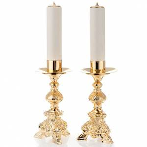 pair of wrought candlesticks height 31cm s1