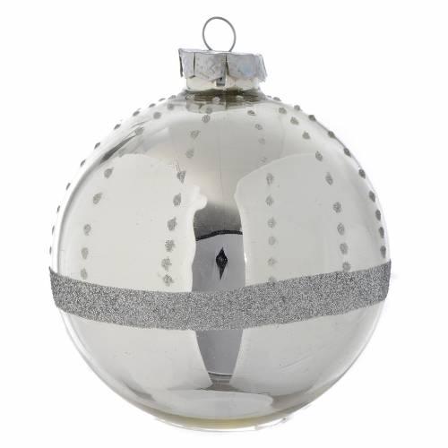 Palla Albero di Natale vetro glitter Silver 90 mm s1
