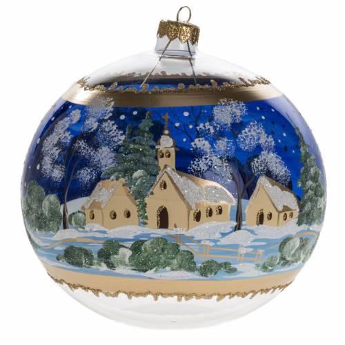 Palla albero Natale vetro paese fondo blu 15 cm s1