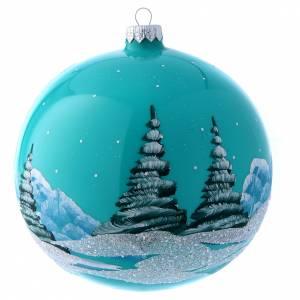 Palla Natale 150 mm celeste ambiente innevato s3