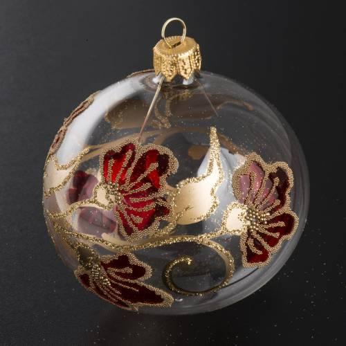 Palla Natale per albero vetro trasparente rosso oro 8 cm s2