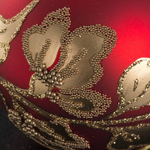 Palla Natale vetro rosso decori color oro 6 cm s3
