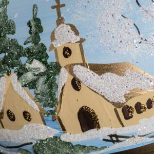 Palla Natale vetro soffiato paese innevato dipinto 10 cm s4