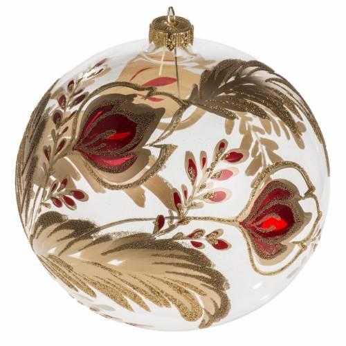 Palla Natale vetro soffiato trasparente fiore rosso oro 15 cm s1
