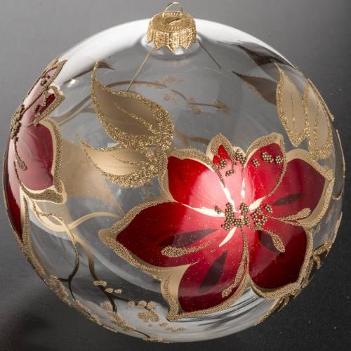 Palla Natale vetro soffiato trasparente fiori rossi oro 15 cm s2