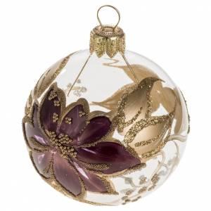 Palla Natale vetro trasparente con fiore fucsia oro 6 cm s1