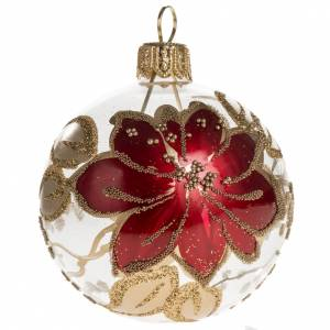 Palla Natale vetro trasparente dipinto a mano 6 cm s1