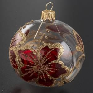 Pallina albero Natale trasparente decori oro rosso 8cm s2