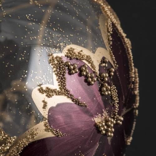 Pallina albero Natale trasparente decori oro viola 8cm s3