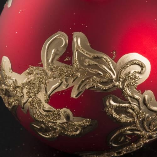 Pallina albero Natale vetro rossa decori dorati 8cm s4