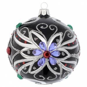 Palline di Natale: Pallina Natale in vetro soffiato decoro floreale nero e argento 100 mm