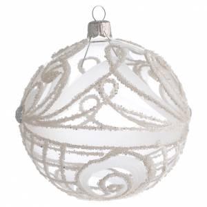 Pallina Natale vetro soffiato trasparente e bianco 100mm s2