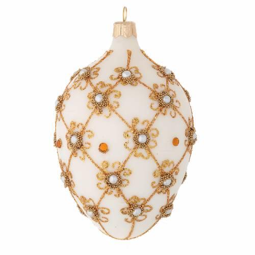 Pallina ovale vetro soffiato avorio e oro 130 mm s2
