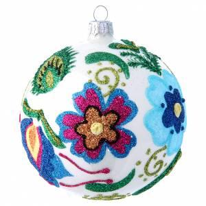 Palline di Natale: Pallina vetro decoro multicolor base bianca 100 mm