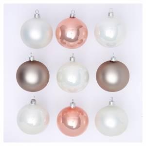 Palline di Natale: Palline vetro lucido e opaco, 3 colori 80 mm scatola 9 pz
