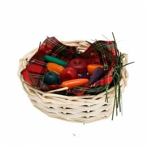 Panier avec légumes et nappe, bricolage crèche s1