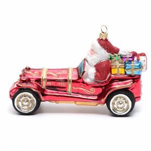 Adornos de vidrio soplado para Árbol de Navidad: Papá Noel en el coche vidrio soplado para Árbol de Navidad