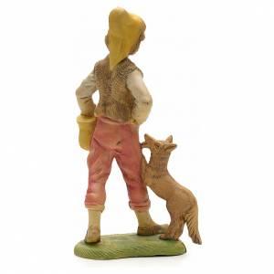 Pastor con perro y cesto 18 cm s2