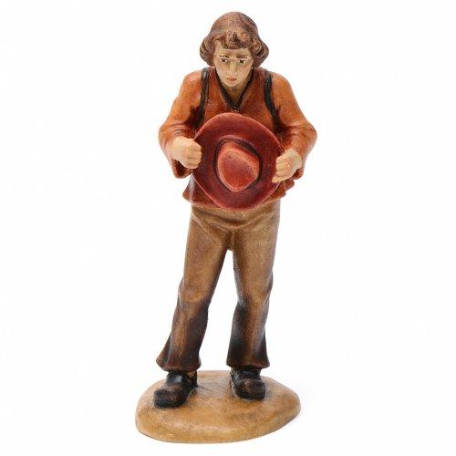 Pastor con sombrero 12 cm madera pesebre mod. Valgardena s1