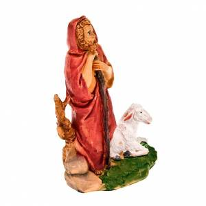 Figuras del Belén: Pastor de pie con bastón y oveja 13 cm.
