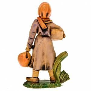 Figuras del Belén: Pastora con canasta y mochila 8 cm