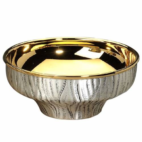 Patena ofertorio latón plateado- dorado cincelado a mano s1