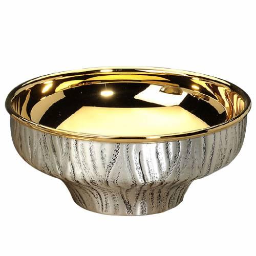Patena offertoriale ottone argentato dorato cesellata a mano s1